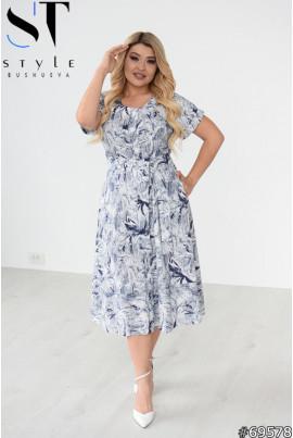 Синє льняне легке плаття міді з принтом