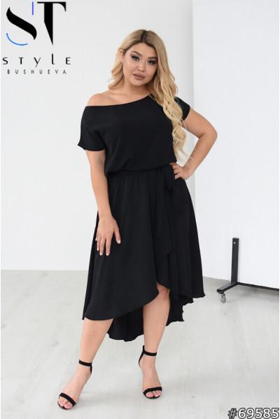 Чорна асиметрична жіноча сукня великих розмірів