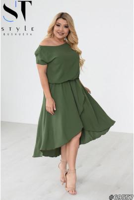 Лаконічна інтригуюча льняна сукня кольору хакі
