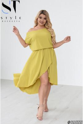 Салатове літнє неймовірно жіночне плаття для повних жінок