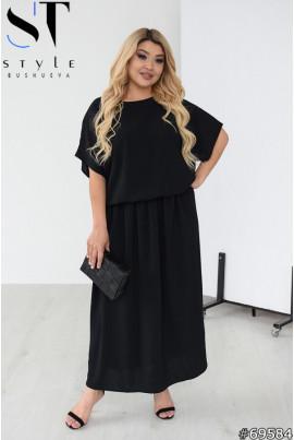 Чорна практична простора сукня максі великих розмірів