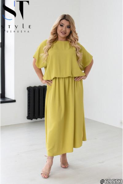 Салатове мінімалістичне льняне плаття максі