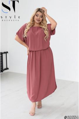 Фрезове сучасне комфортне льняне плаття максі