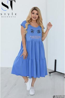 Лаконічне жіночне плаття міді джинсового кольору
