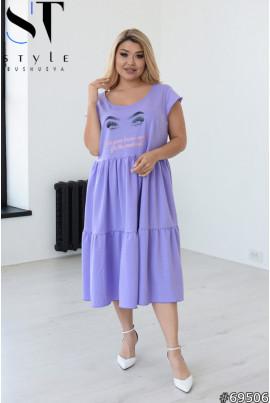 Бузкове оригінальне плаття міді з принтом для повних жінок