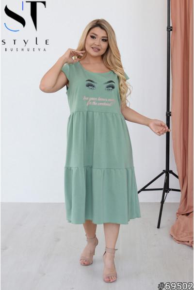 Фісташкове шикарне літнє плаття для жінок з апетитними формами