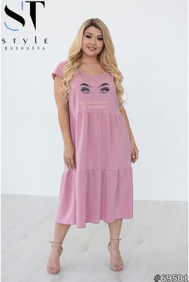 Лаконічне жіночне плаття міді фрезовового кольору