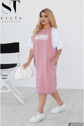 Фрезове просторе стильне плаття міді з принтом