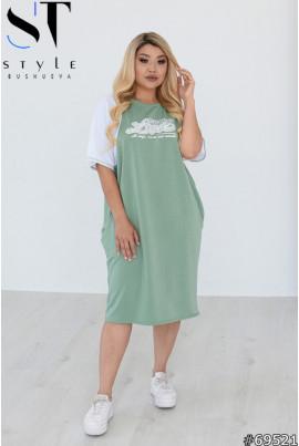 Фісташкове гламурне жіноче плаття з принтом