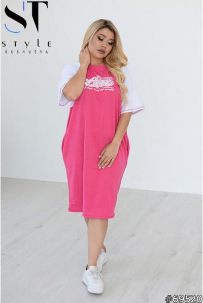 Малинове ефектне плаття для жінок з апетитними формами