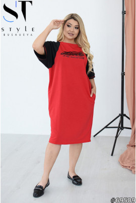 Червоне базове прогулянкове плаття великих розмірів