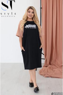 Чорно-бежеве оригінальне плаття з кишенями