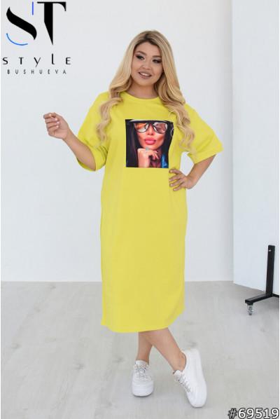 Лимонна легка літня сукня міді великих розмірів