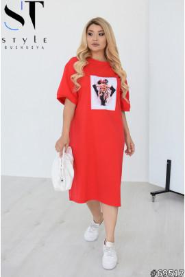 Червона трендова сукня міді для повних жінок