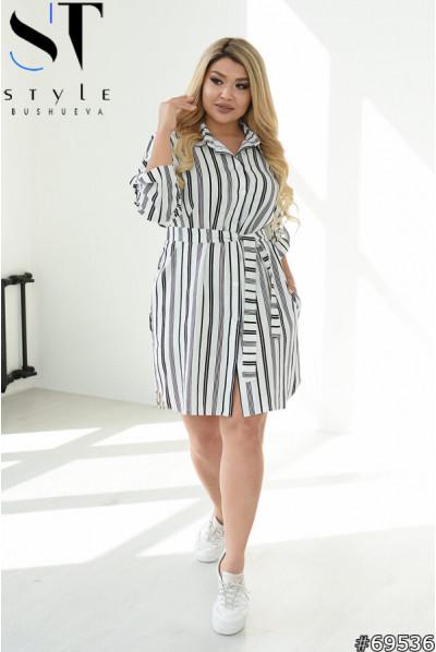Чорно-біле лаконічне льняна плаття-рубашка