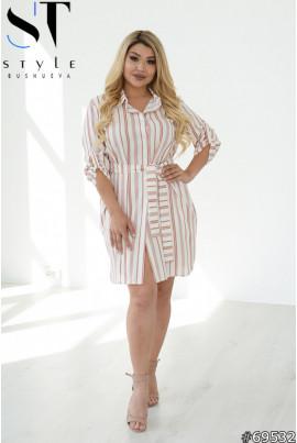 Біло-коричневе легке елегантне плаття-сорочка