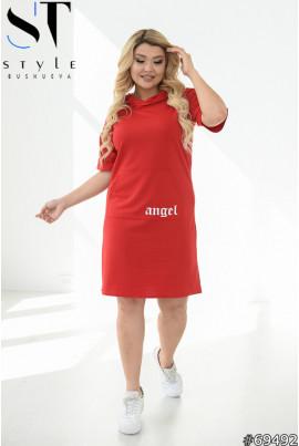 Червоне оригінальне плаття з капюшоном