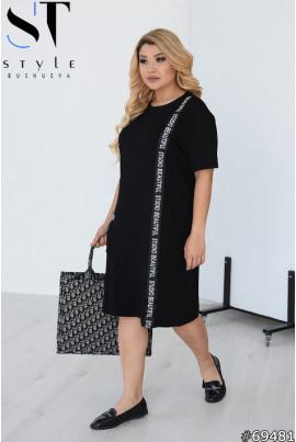 Чорне мінімалістичне спортивне плаття для повних жінок
