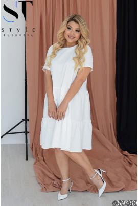 Біле хлопкове однотонне плаття великих розмірів