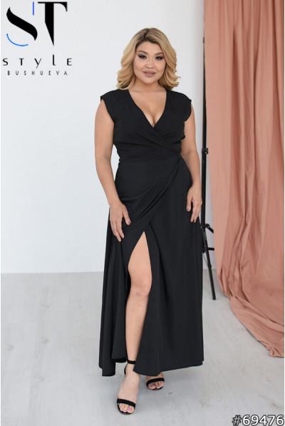 Чорна спокуслива сукня максі для жінок з пишними формами