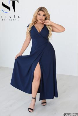 Синя кокетлива довга сукня великих розмірів
