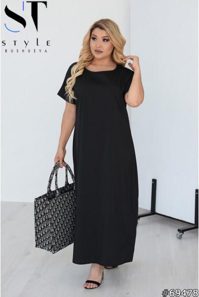 Чорна елегантна довга сукня для повних жінок