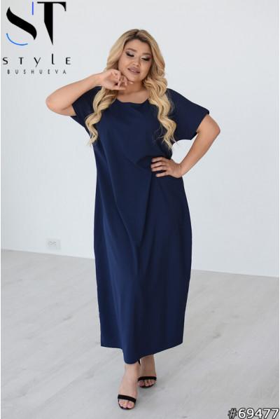 Синя затишна приваблива сукня королівських розмірів