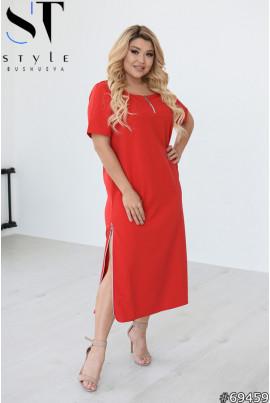 Червоне оригінальне плаття міді для власниць пишних форм