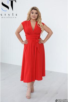 Червона витончена елегантна сукня міді