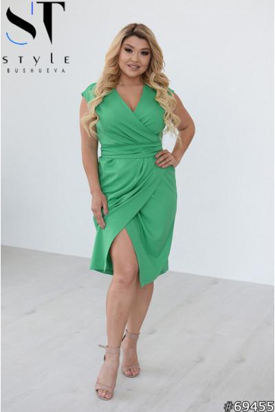 Зелена вишукана жіноча сукня великих розмірів