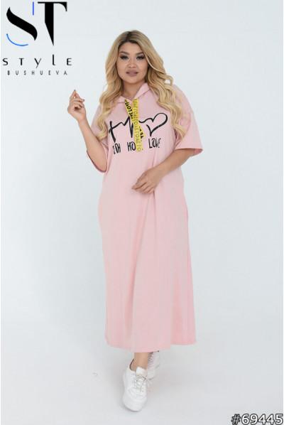 Рожева спортивна сукня максі для повних жінок
