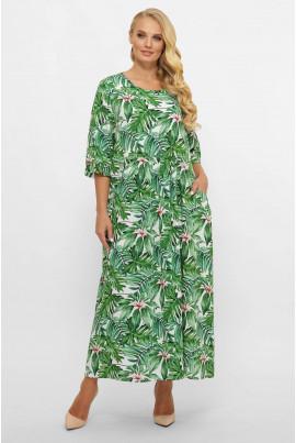 Зелене літнє довге плаття в стилі бохо