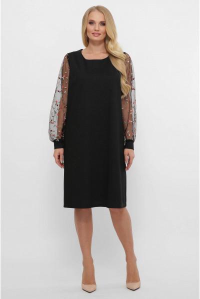 Чорне романтичне плаття міді для жінок з пишними формами
