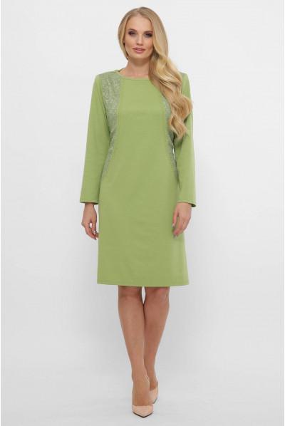 Світло-оливкова повсякденна сукням міді з дрібними стразами