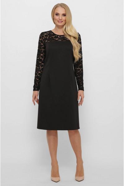 Чорне практичне трикотажне плаття для жінок з апетитними формами