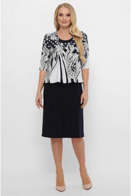 Чорно-біле принтоване плаття міді для повних жінок