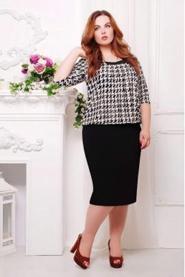 Чорно-біле плаття з принтом гусяча лапка для жінок з пишними формами