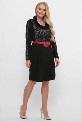 Чорне вишукане плаття міді з оригінальним коміром