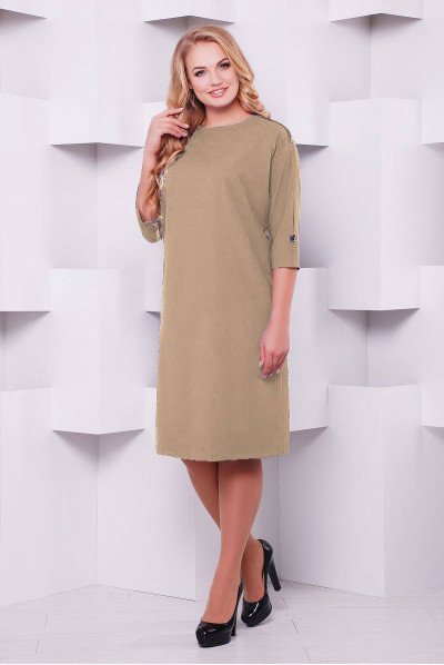Бежеве практичне акуратне плаття великих розмірів