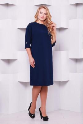 Темно-синє мінімалістичне плаття для жінок з пишними формами