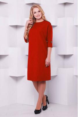 Яскраво-червоне повсякденне плаття міді зі стразами