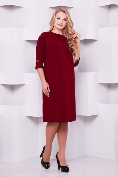 Бордове елегантне жіночне плаття великих розмірів