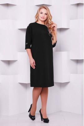 Чорна класична простора сукня для жінок з апетитними формами