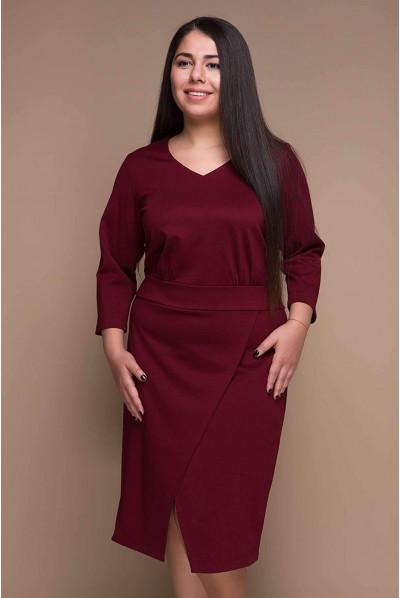 Бордова елегантна сукня міді для повних жінок