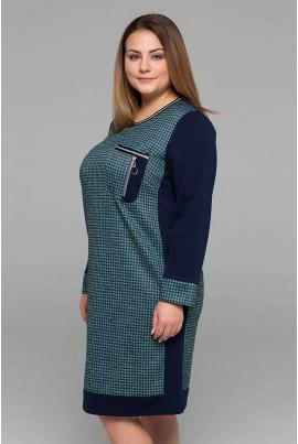 Бірюзове спортивне плаття міді з принтом гусяча лапка