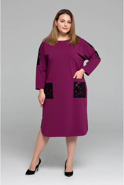 Малинове яскраве актуальне плаття міді великих розмірів