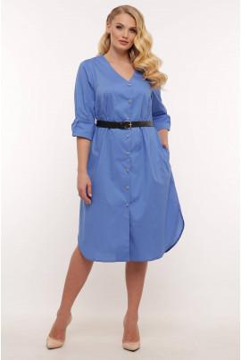 Блакитна однотонна сукня-сорочка для повних жінок