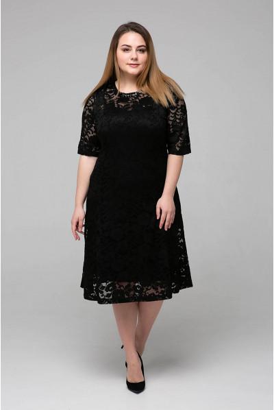 Чорне актуальне плаття міді з гіпюру