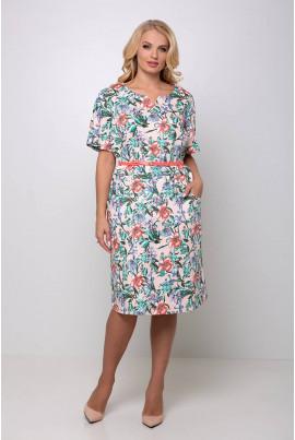 Персикове романтичне квіткове плаття міді з поясом