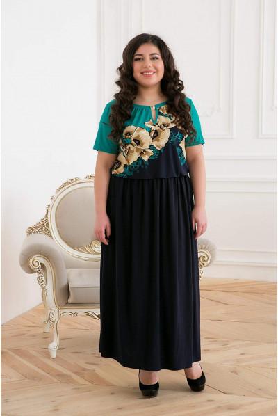 Лаконічне жіноче плаття максі з бірюзовим принтом